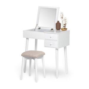 Masă de toaletă cu oglindă, 2 sertare și cutie de bijuterii și Chez Ro Beauty, alb