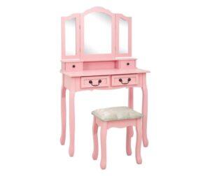 Set masa de toaleta cu taburet roz 80x69x141 cm lemn paulownia