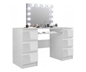 Set Masa toaleta, 130 cm, cosmetica machiaj, masuta vanity, oglinda cu LED-uri - Alb Lucios