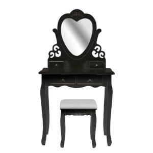 Masuta de toaleta London, Timeless Tools, cu oglinda si taburet, Negru