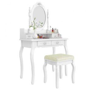 Masuta de toaleta Rome, Timeless Tools, cu oglinda ovala, 4 sertare si taburet, Alb