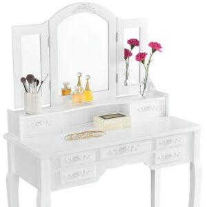 Masa de toaleta set, MBR, 3 oglinzi, 1 taburet, 7 setare, alb review