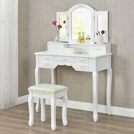 Masa de toaleta set, MBR, 3 oglinzi, 1 taburet, 7 setare, alb