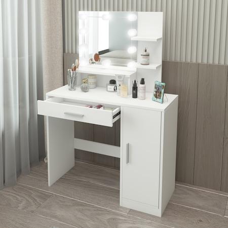 Masa de toaleta/machiaj, ML-Design, 90 x 38 x 137 cm, MDF, alba, LED